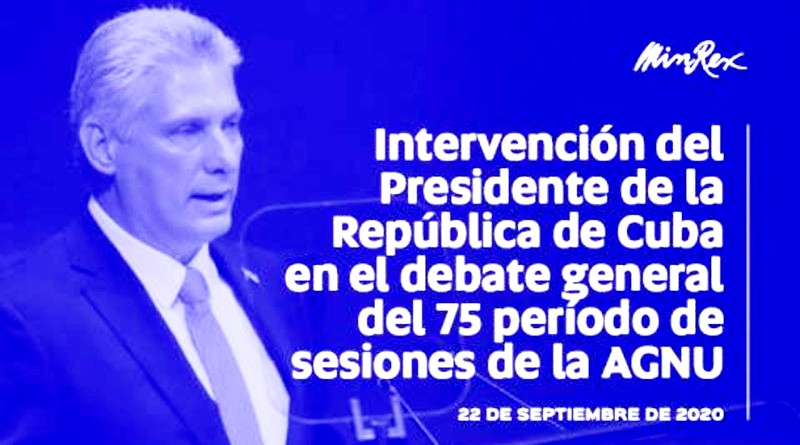Intervención del presidente de Cuba, Miguel Díaz-Canel, en la ONU
