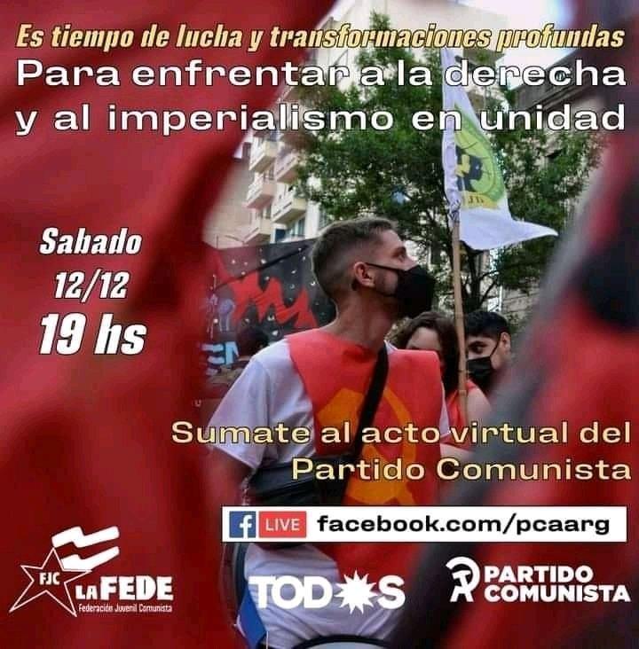 Acto del PC por la Unidad Popular para enfrentar a la derecha y al imperialismo