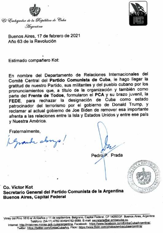 PC de Cuba agradece apoyo del PCA-Fede a sus reclamos al gobierno de Estados Unidos