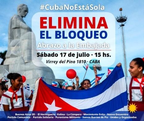 ABRAZO A LA EMBAJADA DE CUBA – #CubaNoEstáSola #EliminaElBloqueo