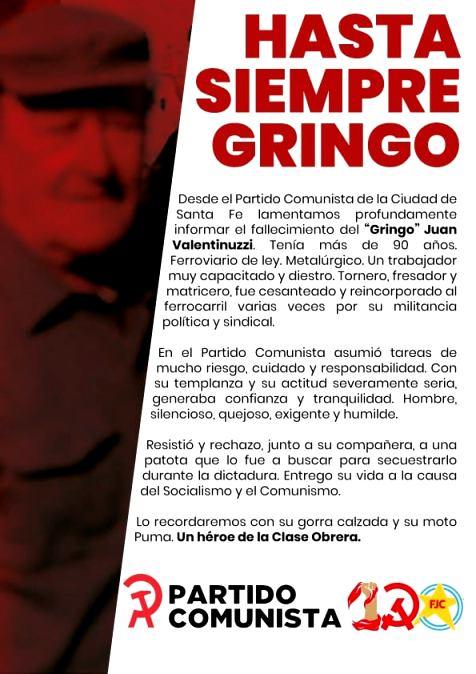 Hasta la Victoria Siempre 'Gringo' Juan Valentinuzzi